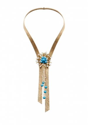 Collar en oro rosa con perlas de turquesas y diamantes