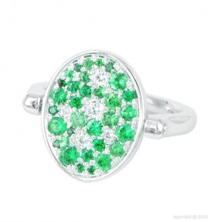 Sortija Twist reversible en pavé de diamantes y tsavoritas verdes