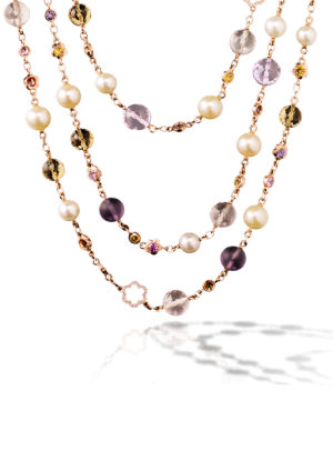 Collar barroco de Chanel con perlas cultivadas, oro rosa, zafiros de color, piedras