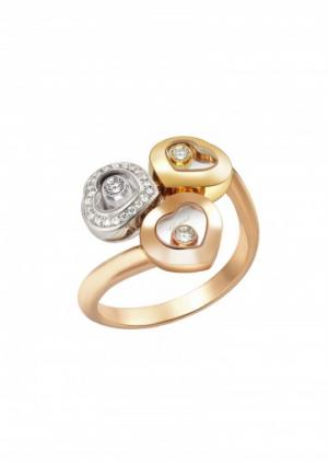 Sortija Happy Diamonds Icons en tres oros y diamantes con pavé
