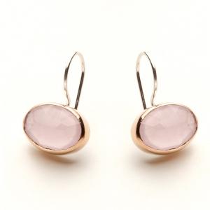 Pendientes Ovalados de plata biselada en bronce pulido con cuarzo rosa - precio 69€