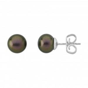 Pendientes clásico con perla rodiada color tahití y cierre pincho - precio 37€