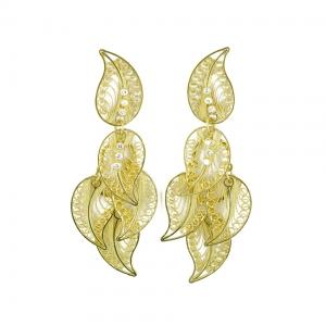 Pendientes Evita de Mallarino en filigrana de oro y brillantes