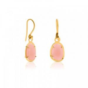 Pendientes Dinah en cierre de gancho oro amarillo y ópalo rosa, precio 295€