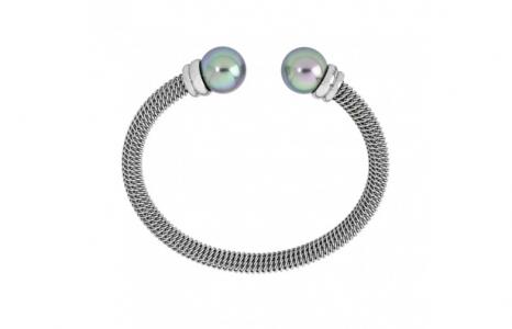 Pulsera Modern Metals en metal rodiado con perlas gris de 12 mm y acero inoxidable - precio 66€