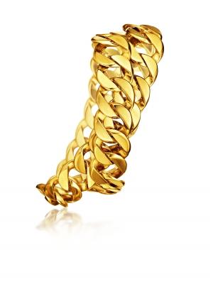 Brazalete Double Wrap Curb Link en oro amarillo - Novedad