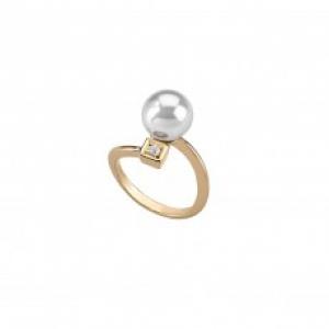 Anillo Tu&Yo en plata dorada con perla blanca de 10 mm - precio 55€