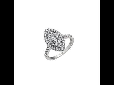 Solitario Grace de Suárez en oro blanco y pavé de diamantes con forma de marquise