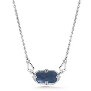 Collar Patras en oro blanco con colgante de zafiro azul y diamantes