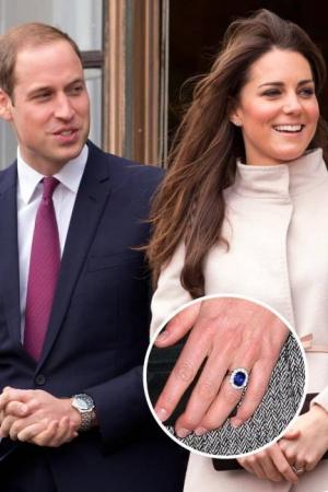 Anillo de compromiso de Kate Middleton con un zafiro azul de 18 quilates