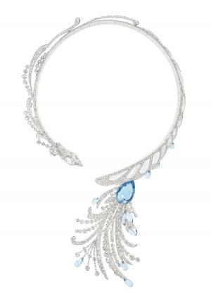 Collar Paon de Lune, Hotel de la Lumière de Boucheron en oro blanco, diamantes, aguamarina  y cristal de roca