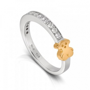Anillo Puppies en oro blanco, osito en oro amarillo y diamantes, precio 995€