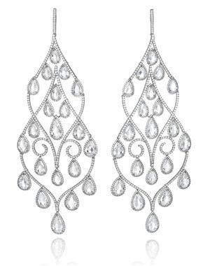 Pendientes Chopard en pavé de 1.660 brillantes y 42 diamantes talla pera con un total de 25 quilates de diamantes