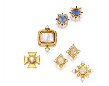 Conjunto de joyas de Elizabeth Locke en oro amarillo de 18 quilates