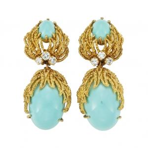Pendientes Van Cleef & Arpels en oro, turquesas y diamantes - estimado entre $2.000 y $3.000