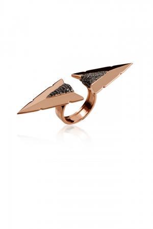 Anillo Puntas Flecha Aristocrazy en baño de oro rosa con espinelas - 219€