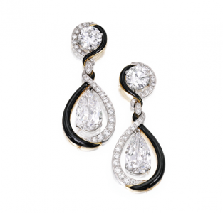 Pendientes David Webb con monturas intercambiables en diamantes y esmalte