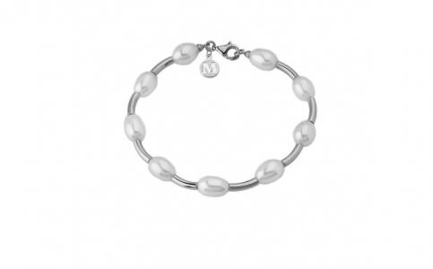 Brazalete Junco en plata rodiada con perla fresh water de 9mm en blanco - precio 92€