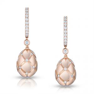 Pendientes Treillage Diamond Rose Gold de Fabergé en oro rosa de 18 quilates con diamantes redondos engastados