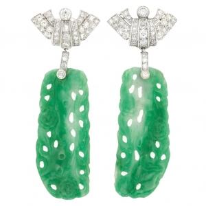 Pendientes Art Deco en platino, diamante y jade - precio estimado de $7.000 - 9.000