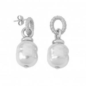 Pendientes Modern Metals con perla blanca barroca - precio 52€