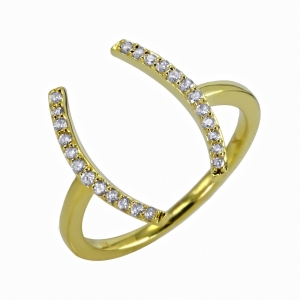 Anillo paréntesis en oro y diamantes - U$1.015