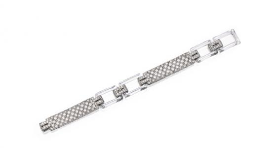 Pulsera Cartier en platino, diamantes y cristal de roca. Circa 1925.
