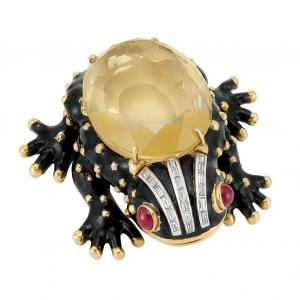 Broche Clip David Webb en oro, platino, esmalte negro, citrino, diamante y rubíes en cabochon - estimado entre $10.000 y $15.000