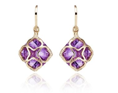 Pendientes Imperiale de Chopard en oro rosa, amatista y diamantes