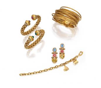 Conjunto de joyas en oro de 18 quilates