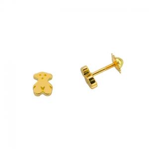 Pendientes Tous Bear en oro amarillo con cierre de rosca