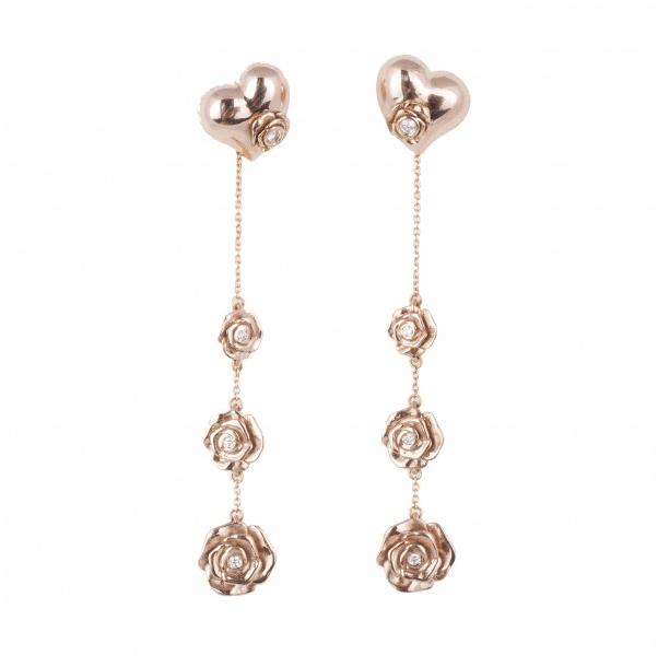 Pendientes Sueños, Corazones y Rosas, en oro rosa y brillantes. Precio 1.550€.