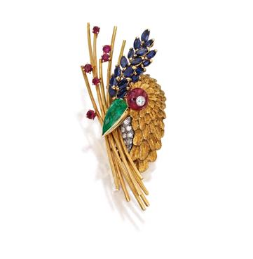 Broche pájaro en oro 18 quilates y platino de Marchak París 1960 con gemas de colores y diamantes
