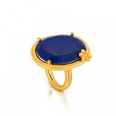 Anillo Dinah Round en oro amarillo y lapislázuli, precio 195€