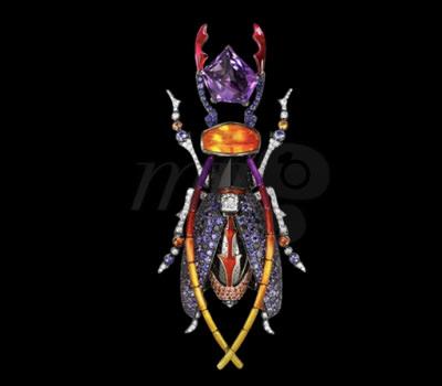 Broche Scarabee Violeta de Lorenz Bäumer