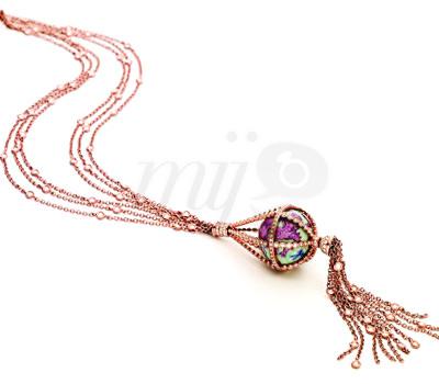 El Globo de Meissen Collar Globo Diamantes y oro Rosa con Porcelana Meissen