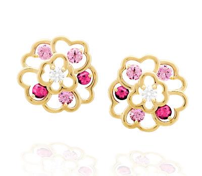 Pendientes Camélia en Oro amarillo, Zafiros Rosas y Diamantes de Chanel Alta Joyería