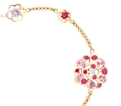 Pulsera Camélia en Oro amarillo, Zafiros Rosas y Diamantes de Chanel Alta Joyería
