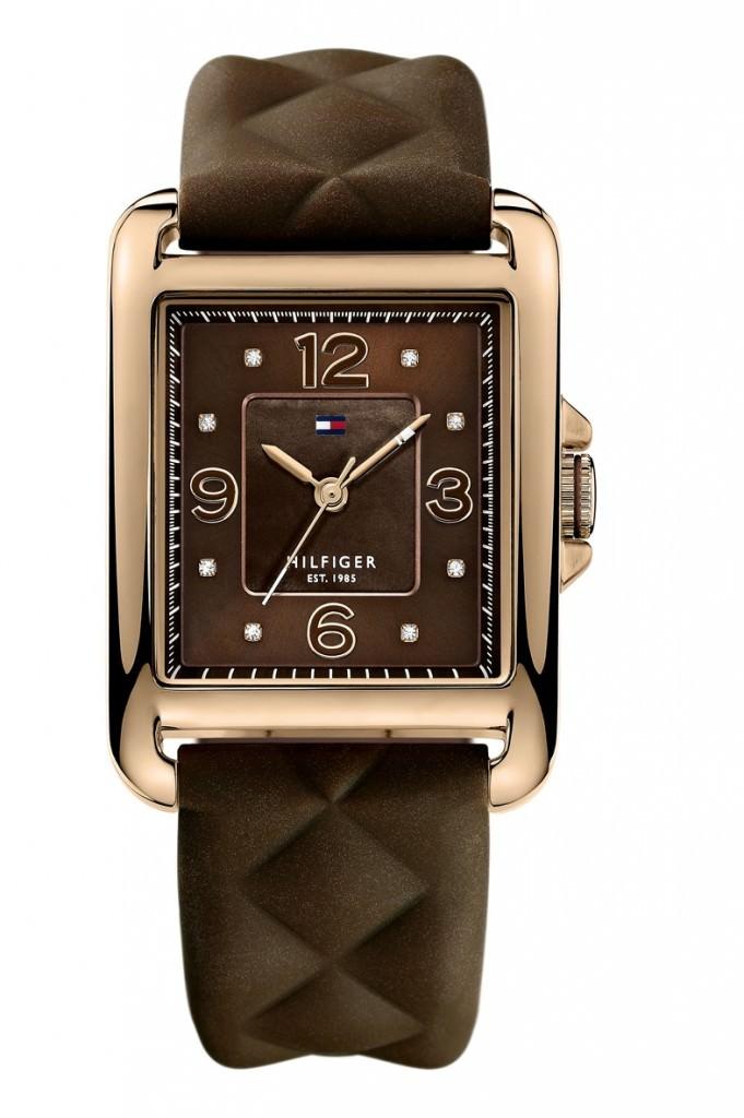 Reloj de esfera cuadrada chapada en oro rosa de Tommy Hilfiger Jewelry & Watches
