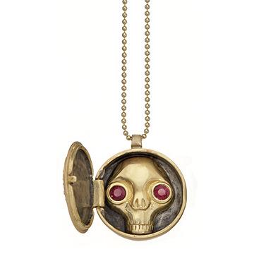 Interior del Collar Juana Peekaboo Skull en oro y rubíes de Wendy Brandes