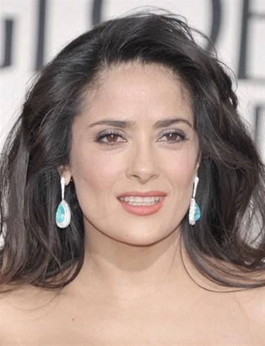 Pendientes diamante y piedra azul Salma Hayek Globos de Oro 2013