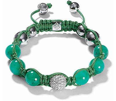 Pulsera Shamballa en diamantes y esmeraldas