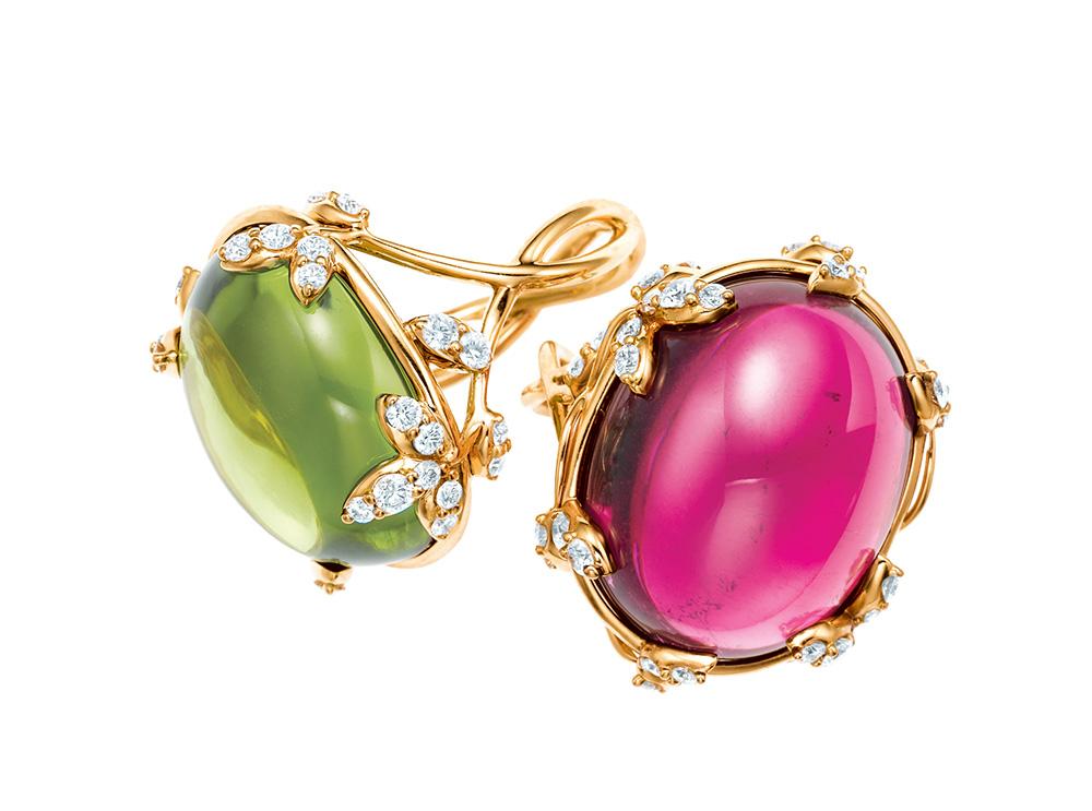 Anillos de diamantes y peridoto o rubelita Colección Paloma's Olive Leaf para Tiffany