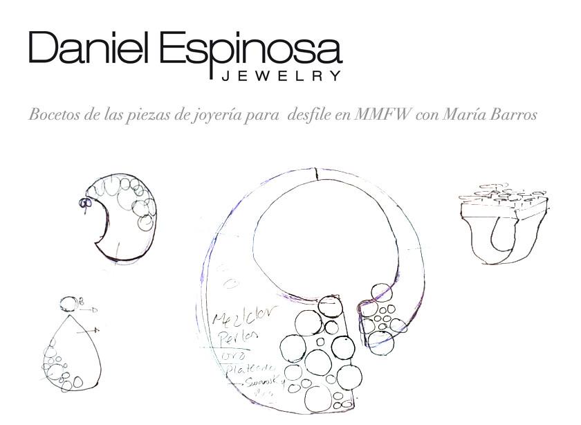 Bocetos de joyas de Daniel Espinosa para el desfile de Maria Barros MMBFW 2013