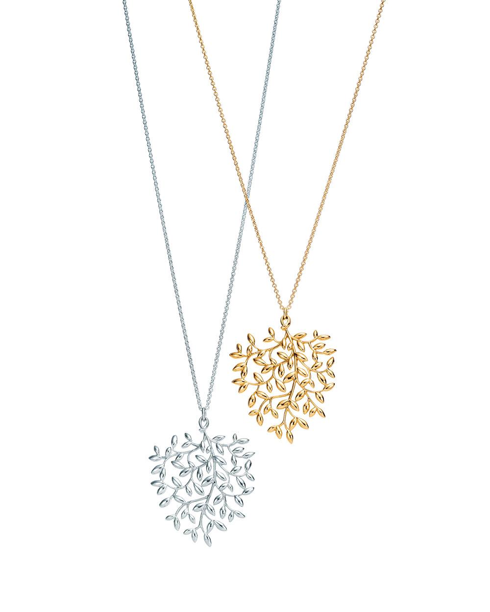 Colgantes largos en oro y plata de ley Colección Paloma's Olive Leaf para Tiffany