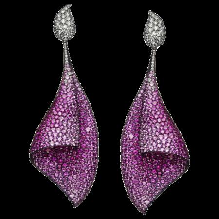 Pendientes Sail de Adler en titanio, zafiros rosas y diamantes