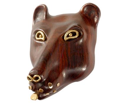 Colgante Oso de Antoine Camus en madera y oro