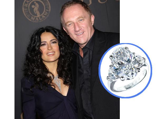 Salma Hayet y su anillo de diamantes de compromiso