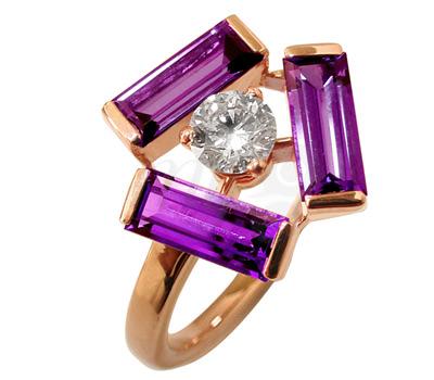 Sortija Tribeca en oro rosa y amatista con diamante de Mathon Joaillerie