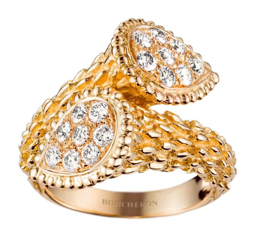 Anillo Serpent Bohème Toi et Moi de Boucheron tamaño mediano en oro amarillo y diamantes